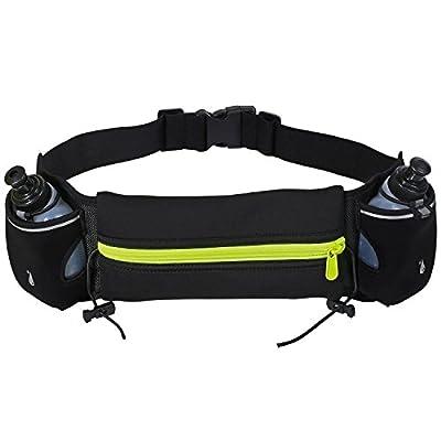 Cido Hüfttasche mit 2 Trinkflasche, 2 Flaschenhalter, und eine Reißverschlusstasche, geeignet fürmeisten Handy und Smartphone, für Wanderung Laufen Radfahren Reisen und Outdoor Aktivitäten