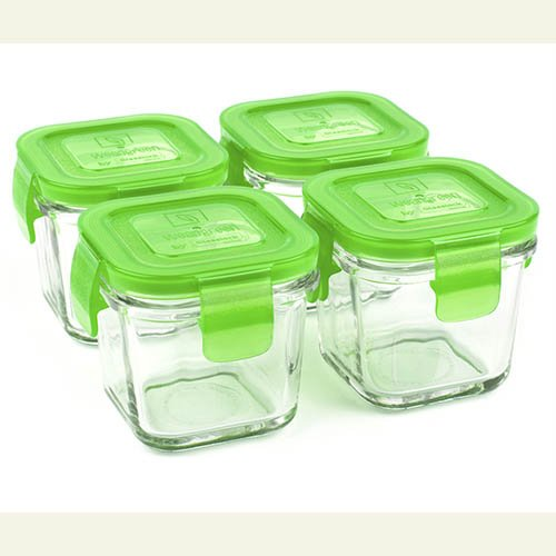Wean Green Wean Cubes 4oz/120ml Baby Food Glass Containers - Pea (Set of 4)