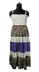 Anuze Fashions New Fashion Casual Wear Multi Colour Designs Print Cotton Smoking Long Dress For Women's And Girl's