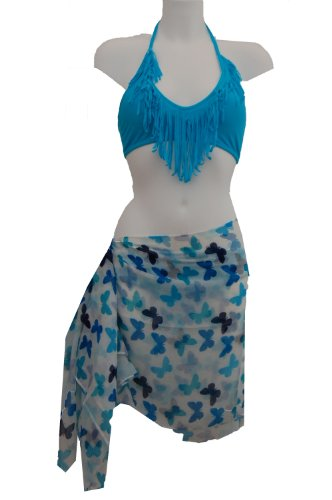 Tamari White Blue Butterfly Print Sarong Beach Cover Up Wrap Dress For Women One Size