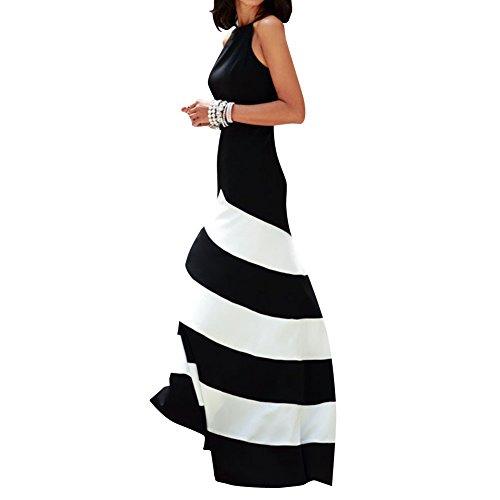 DB Women's Stripes Bohemia Summer Beach Long Skirt Maxi Sundress