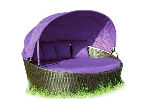 Exclusive Sonneninsel aus Poly Rattan Lounge Sonnenliege Rattanbett flieder lila