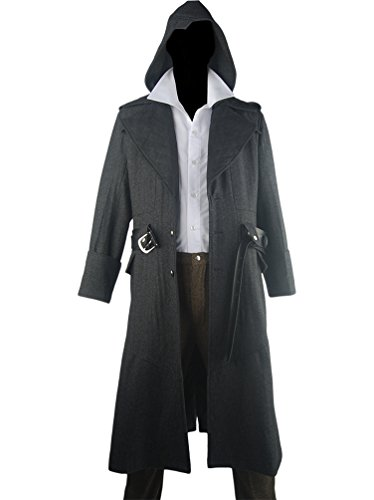 [XYZcos Men's AC Syndicate Jacob Frye Overcoat Trench Coat Costume Size S] (Kid Sized Assassins Creed Costume)