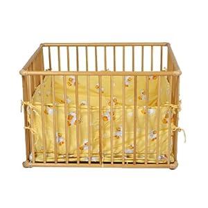 Wooden playpen 100x75 cm yellow insert incl. by Serina