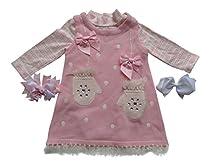 Bonnie Jean Girls Mittens Holiday Jumper Dress & Shirt Set, Pink, 6