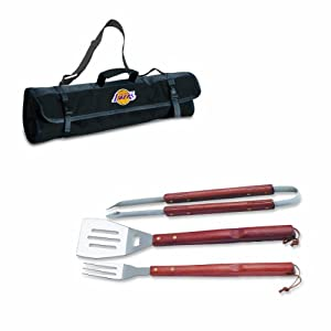 NBA Los Angeles Lakers 3-Piece BBQ Tool Set with Carry Tote by Picnic Time