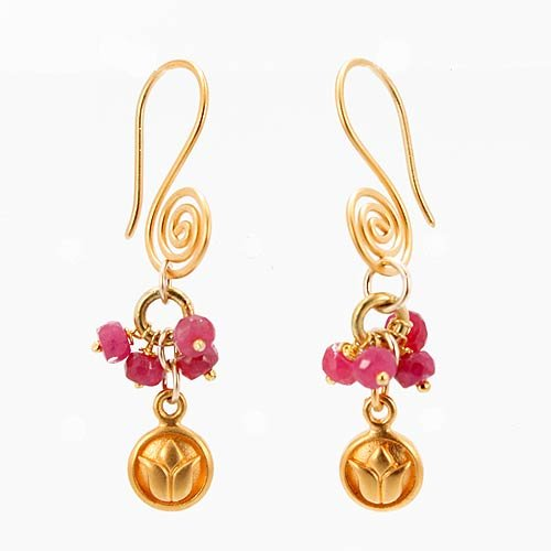 Gold Vermeil Lotus Blossom Flower and Ruby Gemstone Bead Cluster Dangle Earrings with Decorative Swirl Wires, #7506
