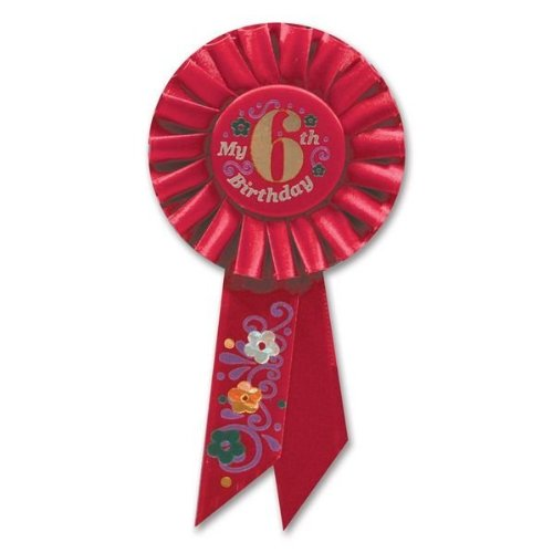 Beistle RS056R My 6th Birthday Rosette, 3-1/4-Inch by 6-1/2-Inch