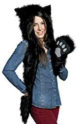Black Bear Anime Faux Animal Hood Hoods Mittens Gloves Scarf Spirit Paws Ears
