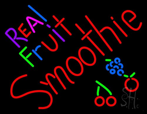 """Real Fruit Smoothies Outdoor Neon Sign 24"""" Tall X 31"""" Wide X 3.5"""" Deep front-608911"""
