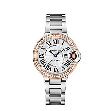 Cartier Ballon Bleu Silver Dial Stainless Steel Diamond Ladies Watch WE902080
