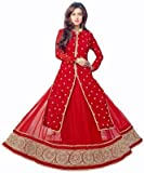 Buyzzaronline New red Semi Stitched salwar Suit