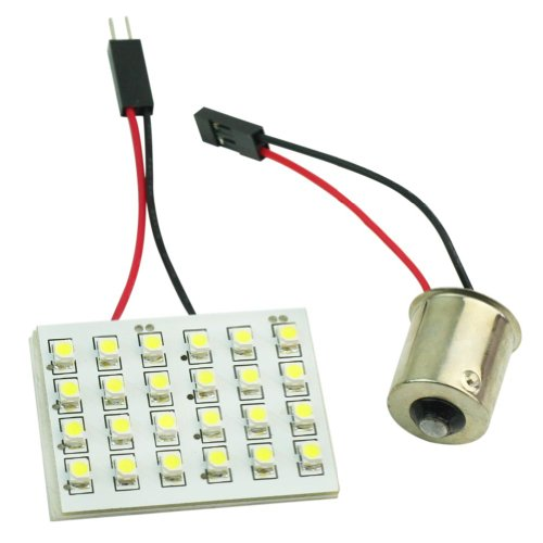 Auto Car White 24 Led Panel 3528 Smd Dome Light Lamp + Ba15S 1156 Adapter Dc 12V