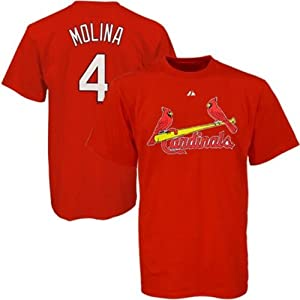 Yadier Molina #4 St. Louis Cardinals MLB Mens Name & Number T-shirt by Majestic