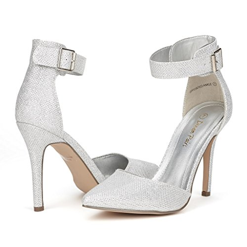 DREAM PAIRS OPPOINTED-ANKLE Women's Pointed Toe Ankle Strap D'Orsay High Heel Stiletto Pumps Shoes Silver Glitter Size 7.5