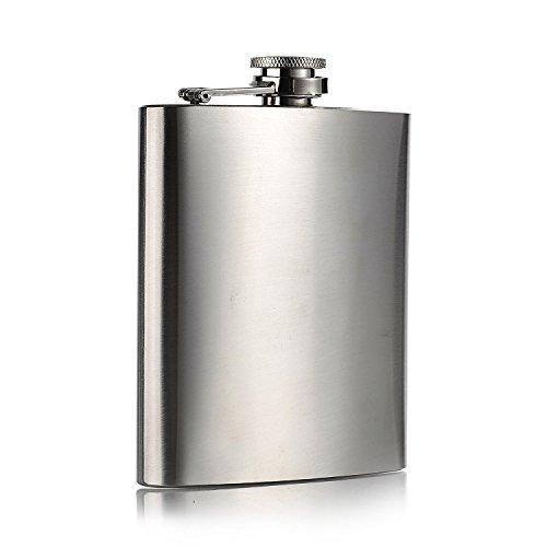 Topways® Hip Flask Stainless Steel Fiaschetta in acciaio inox con coperchio a vite per riporre Whisky/alcool Argento 7 oz 196 ml