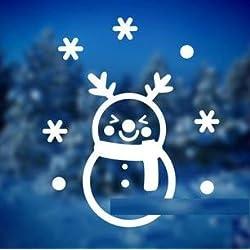 貼ってはがせる ウォールステッカー クリスマス 雪だるま (ホワイト, S)