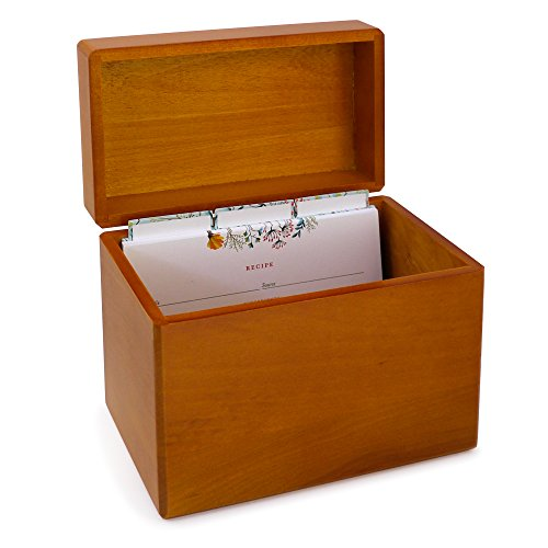 Maple Wood Recipe Box with 4x6 Floral Recipe Cards and Dividers. Classic Style Recipe Card Box, With a Warm Rustic Wood Finish (Recipe Box Dividers 4x6 compare prices)