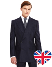 Best of British Pure Wool Double Breasted 2 Button Chalk Striped Jacket