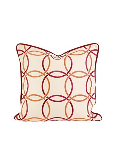 Catina Orange/Red Embroidered Linen Pillow