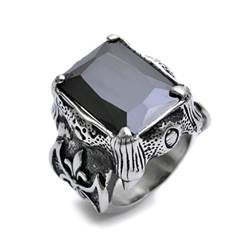 alimab acciaio inossidabile Anelli Argento Nero Dragon Claw gotico anello per uomo us Size 11
