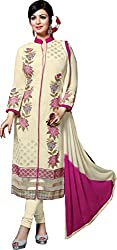 Adorn Mania Off white Georgette Embroidered salwar Suits Dress Material