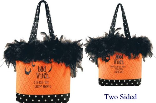 2 Sided Ruffle Tote, Good/ Bad Witch, Halloween Fashionista, 10X13 Inches