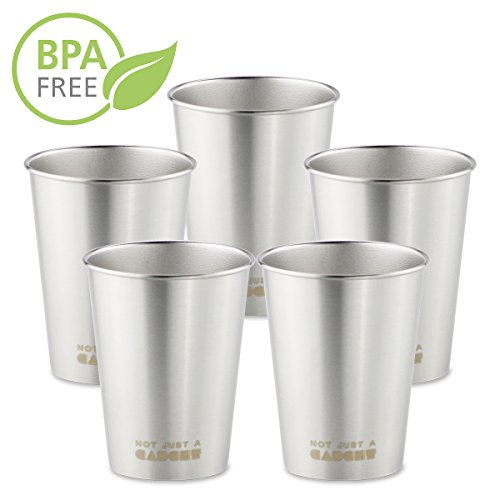 Stainless Steel Pint Cup - 10 oz Tumbler Mug for Camping and Hiking (Pack of 5) - by Not Just