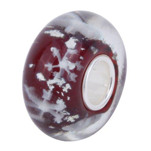 Yazilind 925 Sterling Silver Bead Vermeil Hawaii Murano Glass Snowflake Fits Pandora Chamilia Biagi Trollbeads Bracelets