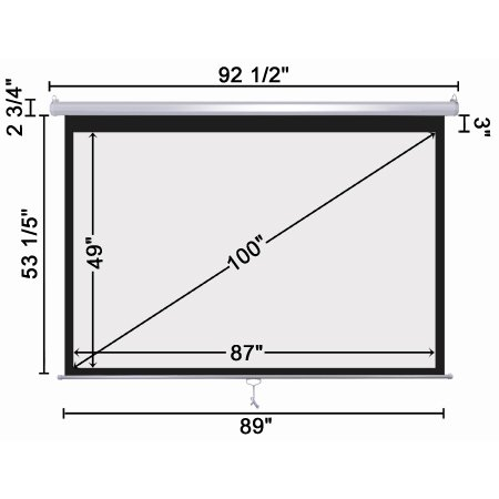 Wall Mount Manual Pull Down Projector Screen 16 9 Aspect