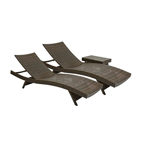Best Selling 2 Outdoor Adjustable Lounges with Wicker Table picture