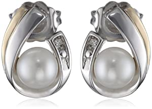 S&G Sterling Silver, 14k Yellow Gold, and Freshwater Cultured Pearl (5.0-5.5 mm) and Diamond Earrings from Amazon Curated Collection