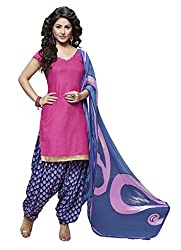 Pink Color Cotton straight Salwar Suit Unstitched Dress Materials