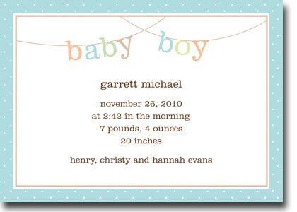 Boy Birth Announcement Cards