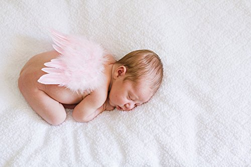 Natural Feather Angel Butterfly Wings, Newborn, Baby, Photo prop- Color: Light Pink