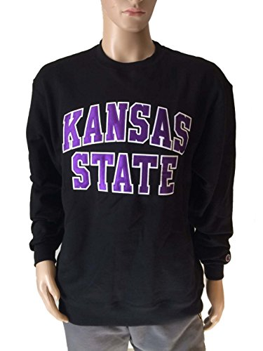 Kansas State Wildcats Champion Eco Fleece Black Crew Pullover Sweatshirt (L)