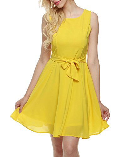 Zeagoo Women Chiffon Summer Sleeveless A-line Pleated Party Cocktail Dress