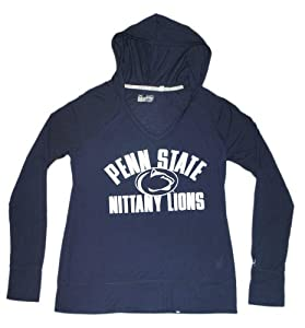 Penn State Nittany Lions Under Armour Women Navy V-Neck Hooded LS T-Shirt (M) by Under Armour