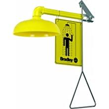 "Bradley S19-120 Galvanized Steel 1 Spray Head Horizontal Supply Safety Shower with Plastic Showerhead, Wall Mount, 20 GPM Water Flow, 9"" Width x 25-1/2"" Height x 15-3/4"" Depth"