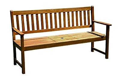Brema 054040 Parkbank France 3-Sitzer Akazienholz FSC 100% mit klappbarem Mitteltisch, 040 von Brema - Gartenmöbel von Du und Dein Garten