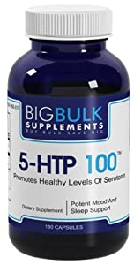 5-HTP 100 Naturally Inreases Serotonin Levels Big Bulk Suplements 5 Hydroxytryptophan 5 HTP 100mg 180 Capsules 1 Bottle