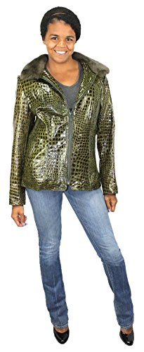 Bergama Glossy Reptile Embossed Leather Jacket with detachable Rex Rabbit Collar - Small - Olive Gre..