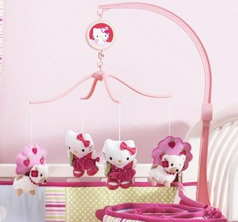 Bedtime Originals Hello Kitty and Puppy Musical Mobile - Pink