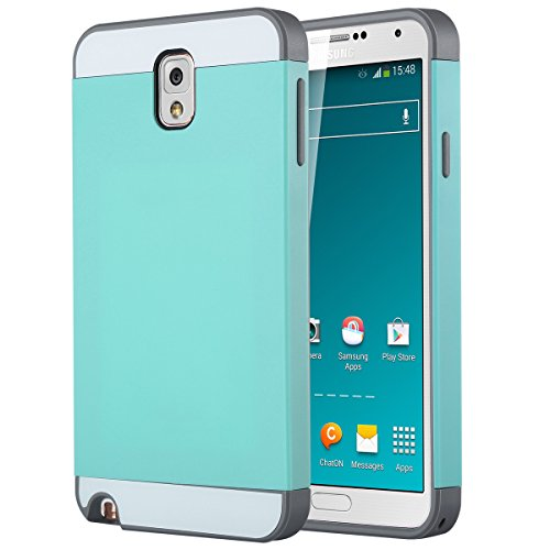 ULAK Slim Hybrid Dual Layer Rubber Bumper Hard Case with Card Slot for Samsung Galaxy Note 3 N9000 - Mint/Gray (Bumper Galaxy Note 3 compare prices)