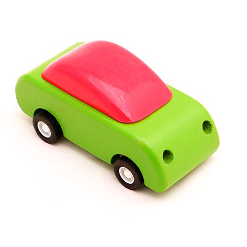Pull-Back Wooden Racing Car,Green,T00074