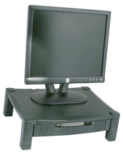 Kantek MS420 Height-Adjustable Stand with Drawer, 17 x 13 1/4 x 3 to 6 1/2-Inches (Black)