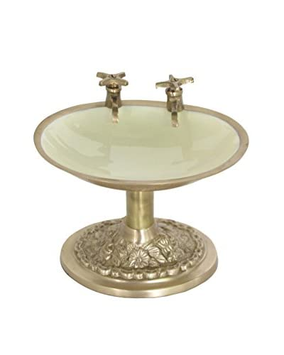Blue Ocean Traders Hot & Cold Soap Dish, Brass/White