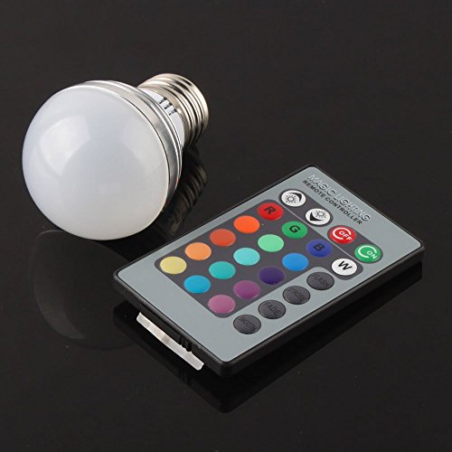 E27 3W RGB LED Magic Light Bulb Lamp + 24Key IR Remote Control Colors Change (Cool Things Under 5 Dollars compare prices)