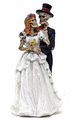 Wedding Dance Love Never Dies Eternal Skeleton Couple Figurine Sculpture Dias De Los Muertos Day of the Dead Decor
