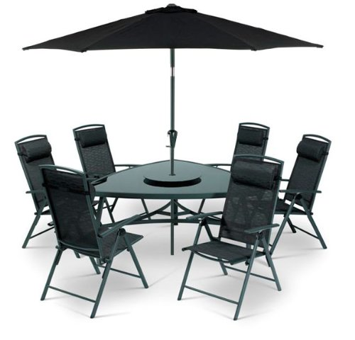 8 Pc Triangular Valencia Black 6 Seater Garden Furniture Recliner Set - FREE UK Mainland Delivery